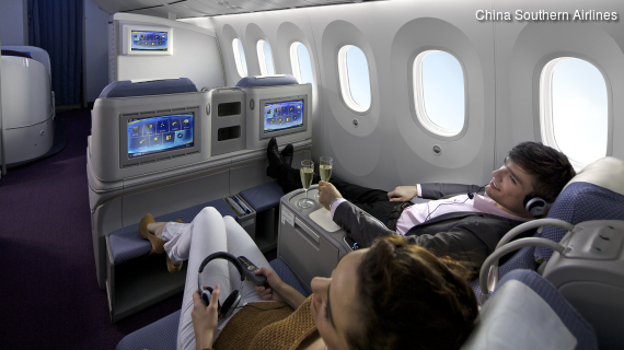 Exklusives Ambiente und ungestörte Ruhe in der Business Class von China Southern Airlines